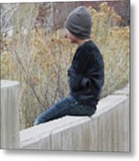Boy On Fence Metal Print