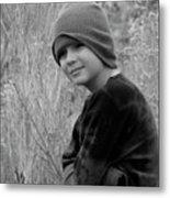 Boy On Fence Smiling - Bw Metal Print