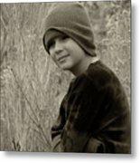 Boy On Fence Smiling - Sepia Metal Print