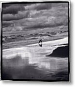 Boy On Shoreline Metal Print