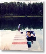 Boy On The Dock Ae Metal Print