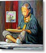 Boy Painting Lilies Metal Print