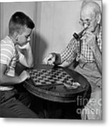 Boy Playing Checkers With Grandfather Metal Print