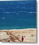 Boy Runs Toward Ocean Metal Print