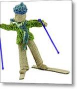 Boy Skiing In Burlap Crafts Metal Print