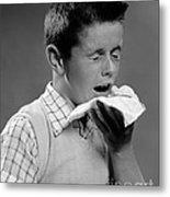 Boy Sneezing Metal Print