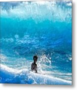 Boy And Wave   Kekaha Beach Metal Print