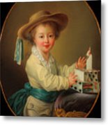 Boy With A House Of Cards                                   Metal Print