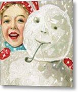 Boy With A Snowman Metal Print