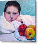 Boy With Apples Metal Print