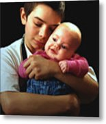 Boy With Bald-headed Baby Metal Print
