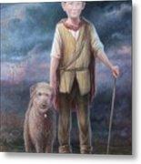 Boy With Dog Metal Print