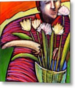 Boy With Flowers Metal Print