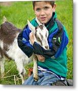 Boy With Goat Metal Print