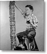Boy With Huge Stack Of Toast, C.1950s Metal Print
