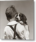 Boy With Puppy, C.1930-40s Metal Print