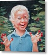 Boy With Raspberries Metal Print