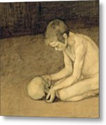Boy With Skull Metal Print