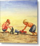 Boys And Trucks On The Beach Metal Print