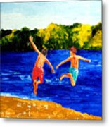 Boys By The River Metal Print