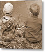 Boys Fishing Metal Print