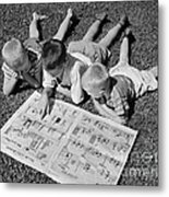 Boys Reading Newspaper Comics, C.1950s Metal Print