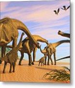 Brachiosaurus Beach Metal Print