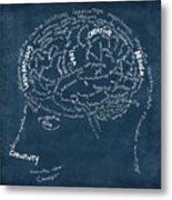 Brain Drawing On Chalkboard Metal Print