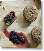 Bran Muffins With Mulberry Jam Metal Print