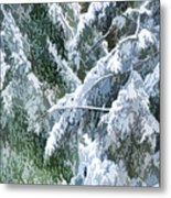 Branches In Winter Season With Fresh Fallen Snow Metal Print