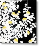Branches Of White Yellow Leaves And Flowers At Night, Black Background Metal Print