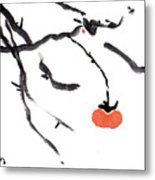 Branches With A Persimmon Metal Print