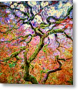 Branching Out In Autumn Neon Metal Print