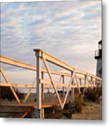Brant Point Lighthouse And Walkway - Nantucket Metal Print