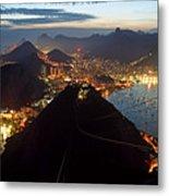 Brasil,rio De Janeiro,pao De Acucar,viewpoint,panoramic View,copacabana At Night Metal Print