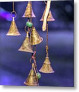 Brass Bells Hanging In The Illuminated Courtyard At Winter Night Metal Print