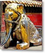 Brass Elephant Metal Print