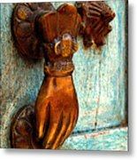 Brass Hand On The Blue Door Metal Print by Mexicolors Art Photography