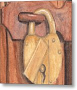 Brass Lock On Wooden Door Metal Print