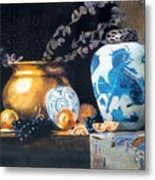 Brass Pot With White And Blue Vase Metal Print