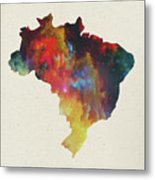 Brazil Watercolor Map Metal Print