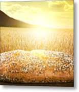Bread And Wheat Cereal Crops At Sunset Metal Print