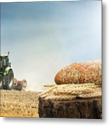 Bread And Wheat Cereal Crops.traktor On The Background Metal Print