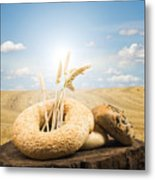 Bread And Wheat Ears. Metal Print by Deyan Georgiev