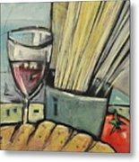 Bread Pasta Wine Metal Print