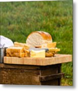 Bread With Butter On Cutting Board Metal Print