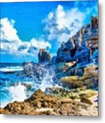 Breakers On The Rocks At Kenridgeview - On - Sea L A S Metal Print