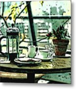 Breakfast Coffee Table Metal Print