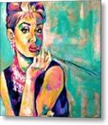 Audrey Hepburn Painting, Breakfast At Tiffany's Metal Print