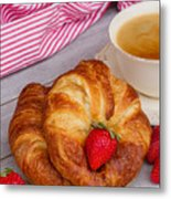 Breakfast With Croissants Metal Print